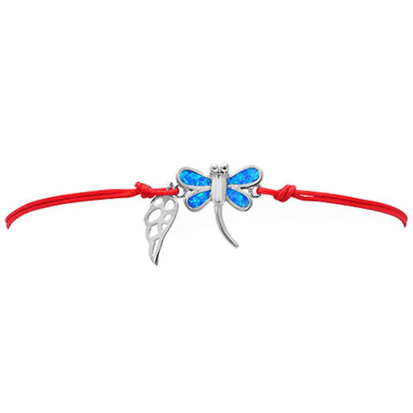 <span>CLOSEOUT!</span> Blue Opal Butterfly .925 Sterling Silver Adjustable Red Bracelet