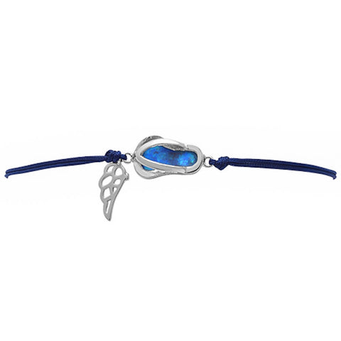 <span>CLOSEOUT!</span> Blue Opal Sandal .925 Sterling Silver Adjustable Black Bracelet