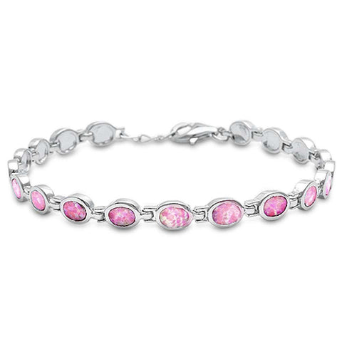 Oval Lab Created Pink Opal .925 Sterling Silver Bracelet