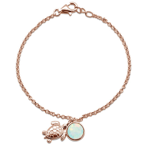 "Round Rose Gold Plated White Opal Turtle .925 Sterling Silver Bracelet 7.5"" Long"