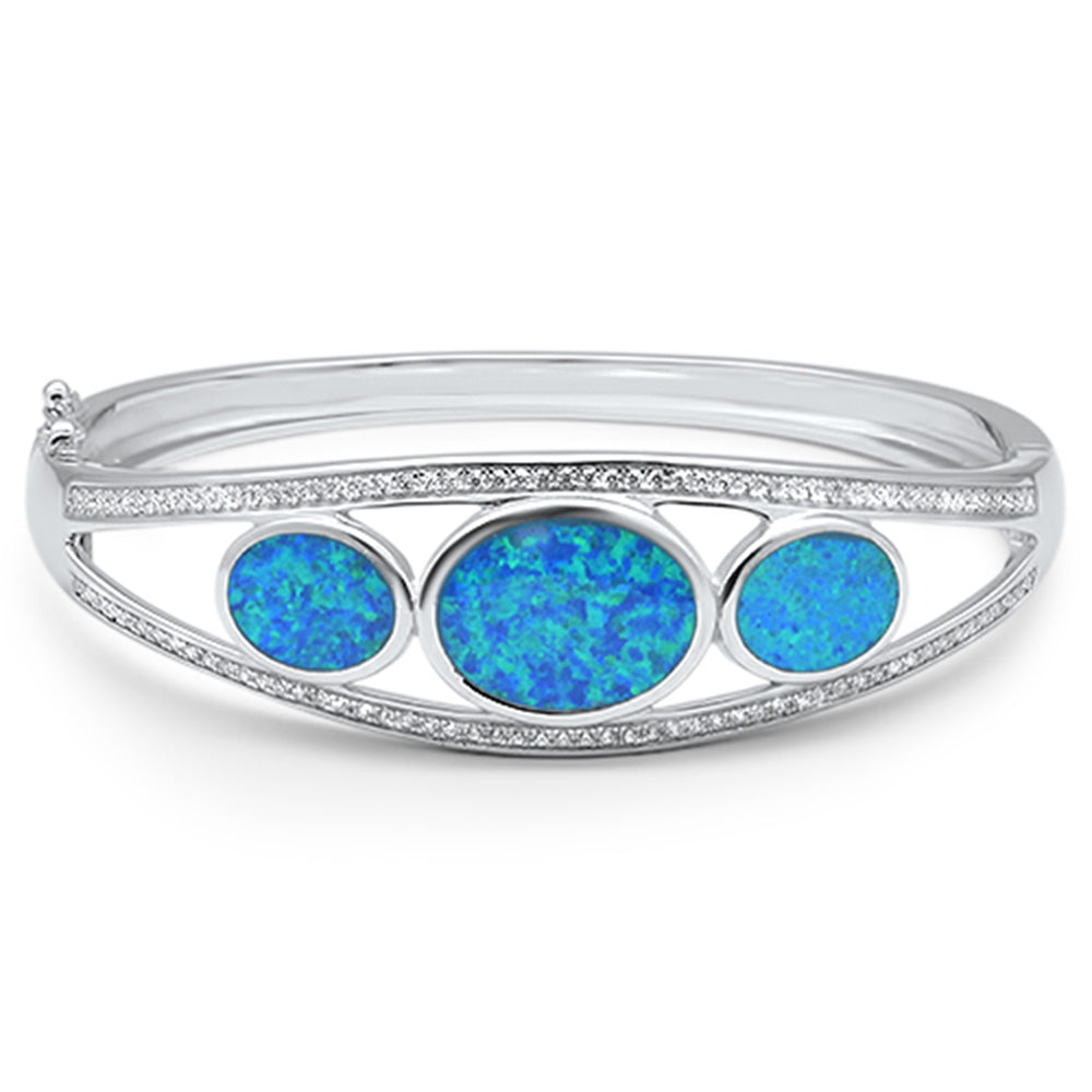 Oval Blue Opal with Cubic Zirconia .925 Sterling Silver Bangle Bracelet 7.5""