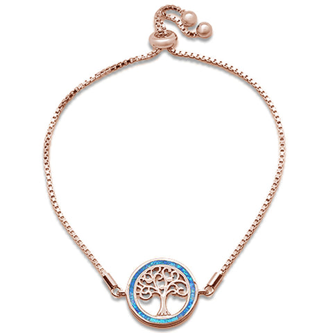"Rose Gold Plated Blue Opal Tree Of Life Whimsica .925 Sterling Silver  7-9"" Adjustable Toggle Bola Bracelet"