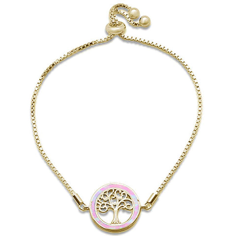 "Yellow Gold Plated Pink Opal Tree Of Life Whimsica .925 Sterling Silver  7-9"" Adjustable Toggle Bola Bracelet"