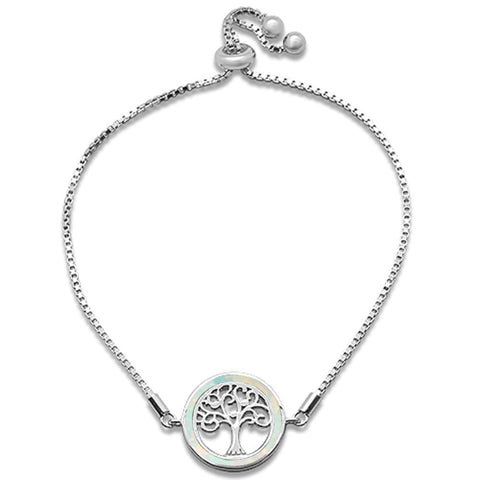 "White Opal Round Tree Of Life Whimsica .925 Sterling Silver  7-9"" Adjustable Toggle Bola Bracelet"