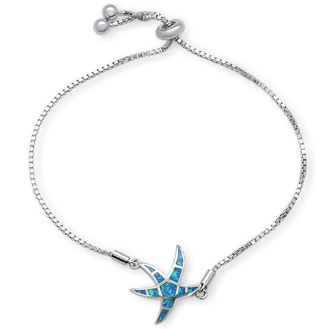 "Blue Opal Star Fish .925 Sterling Silver Bracelet  7-9"" Adjustable Toggle Bola Bracelet"