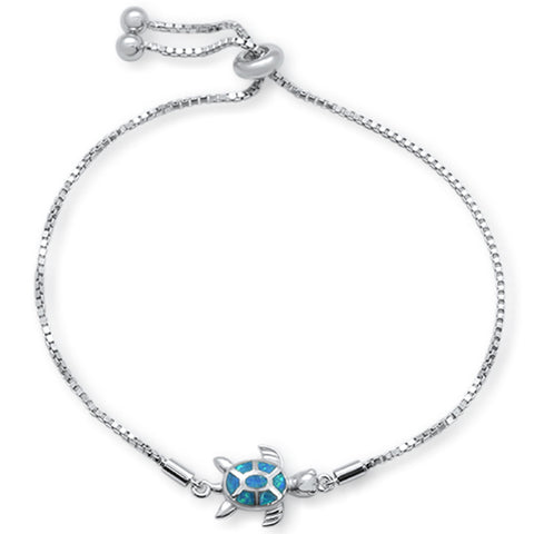 "Blue Opal Turtle .925 Sterling Silver Bracelet  7-9"" Adjustable Toggle Bola Bracelet"