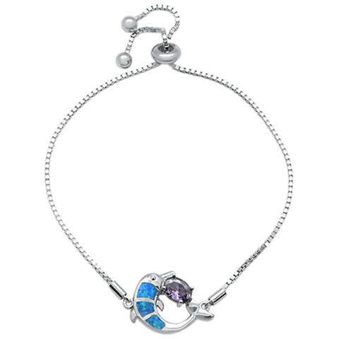"Blue Opal Dolphin & Oval Amethyst CZ .925 Sterling Silver  7-9"" Adjustable Toggle Bola Bracelet"