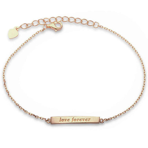 Yellow Gold Plated Engraved 'Love Forever' Bar .925 Sterling Silver Bracelet
