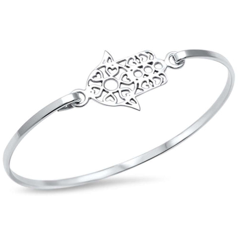 Kabbalah Hand of God Bangle .925 Sterling Silver Bracelet