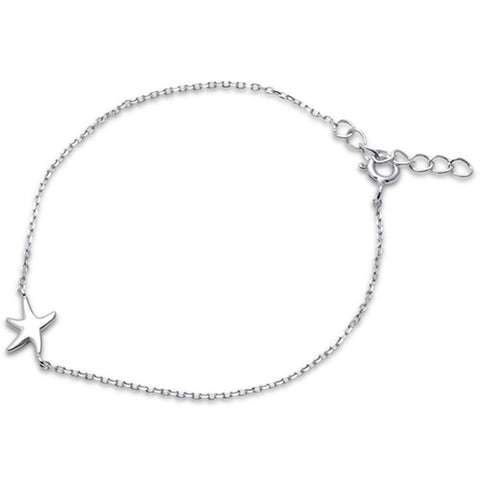 "Plain Starfish .925 Sterling Silver Bracelet 6""+1"" Extension"