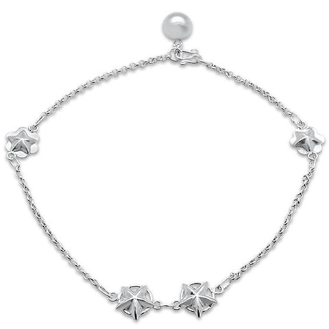 "Plain Starfish .925 Sterling Silver Anklet 9"" Long"