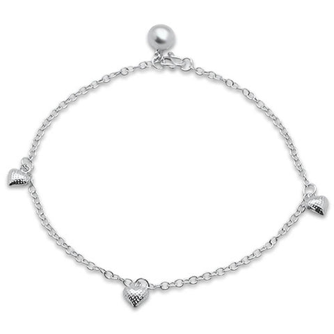 "Plain Heart  .925 Sterling Silver Anklet 9"" Long"