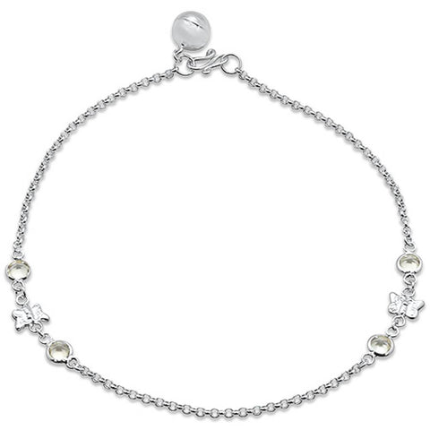 "Plain Butterfly .925 Sterling Silver Anklet 9"" Long"