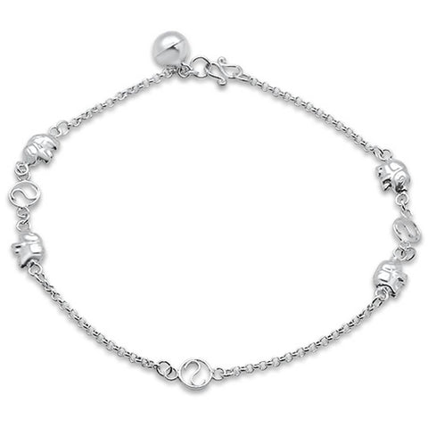 "Plain Elephant  .925 Sterling Silver Anklet 9"" Long"
