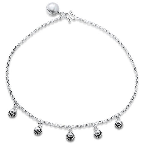 "Plain Filigree Flower .925 Sterling Silver Anklet 9"" Long"