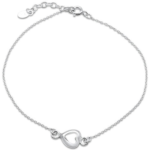 Heart White Pearl .925 Sterling Silver Anklet