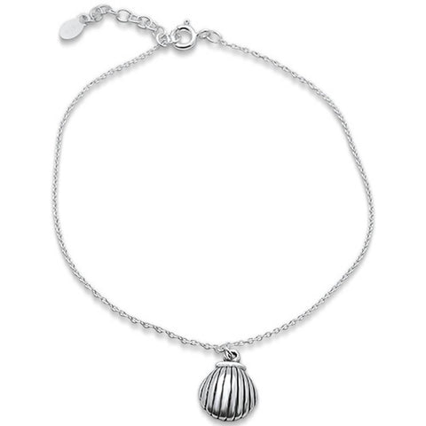 "Plain Shell .925 Sterling Silver Anklet 9"" Long"