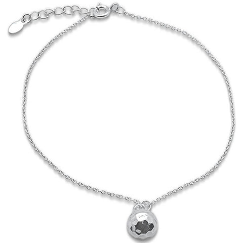 "Plain Disco Ball .925 Sterling Silver Anklet 9"" Long"