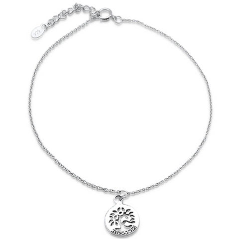"Plain tree of life .925 Sterling Silver Anklet 9"" Long"