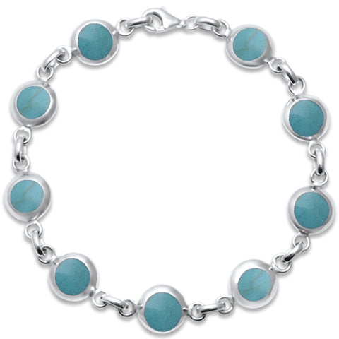 Round Turquoise .925 Sterling Silver Bracelet