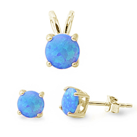 Yellow Gold Plated Round Blue Opal Earring & Pendant .925 Sterling Silver Set
