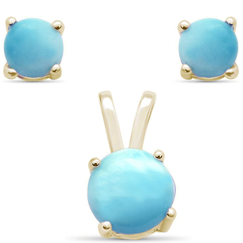 Yellow Gold Plated Natural Larimar Round Set .925 Sterling Silver Earring & Pendant Set