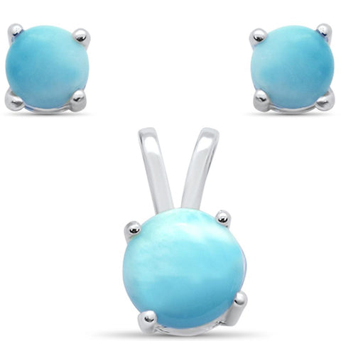 Natural Round Larimar Earring & Pendant .925 Sterling Silver Set