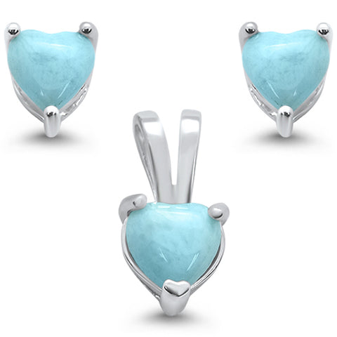 Natural Larimar Heart Earring & Pendant .925 Sterling Silver Set