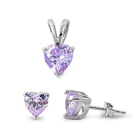 Lavender CZ Heart Pendant & Earrings Set .925 Sterling Silver