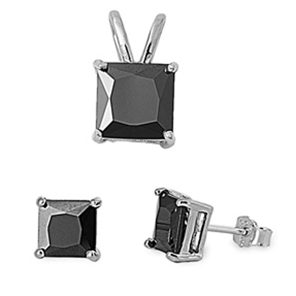 Black CZ .925 Sterling Silver Earrings and Pendant Set