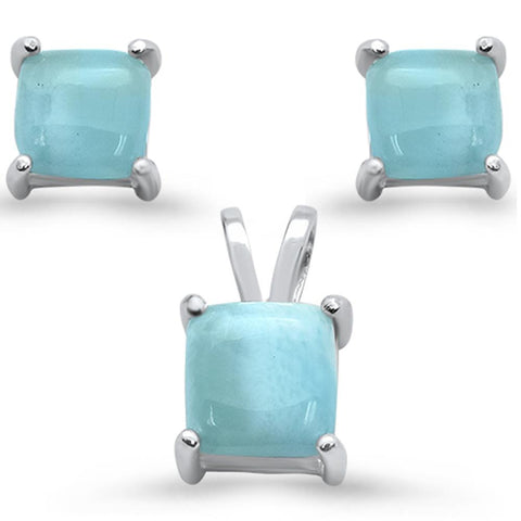 Natural Larimar Princess Cut Earring & Pendant .925 Sterling Silver Set