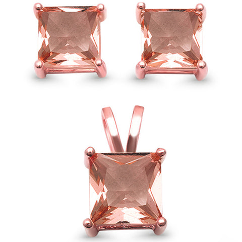 Rose Gold Plated Square Princess Solitaire Morganite Silver Earring & Pendant Set