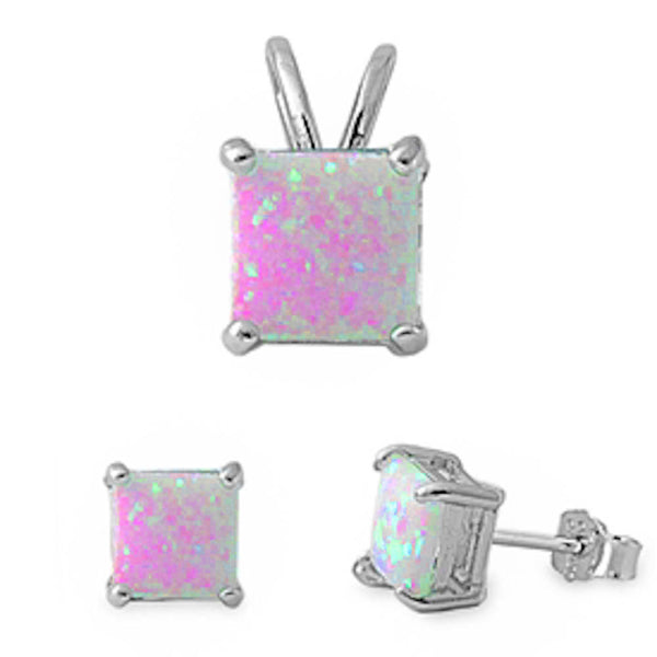 Princess Pink Fire Opal .925 Sterling Silver Earring & Pendant Set