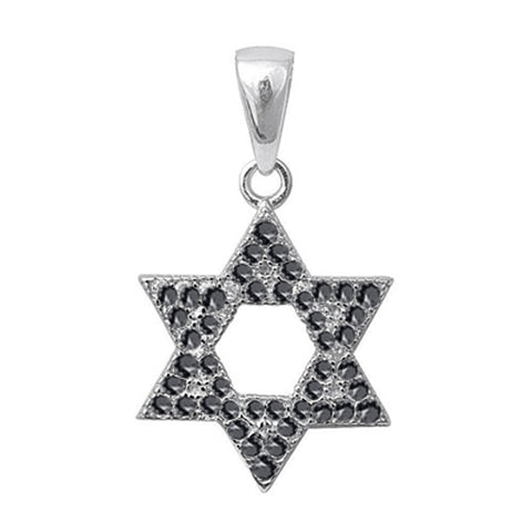 Black Onyx Micro Pave Cubic Zirconia Star of David .925 Sterling Silver Pendant