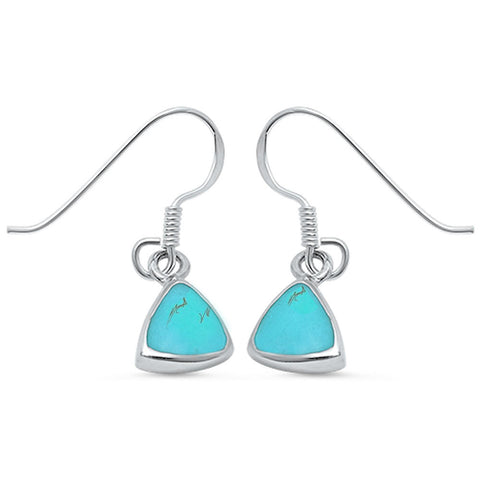 Trillion Cut Green Turquoise .925 Sterling Silver Earring