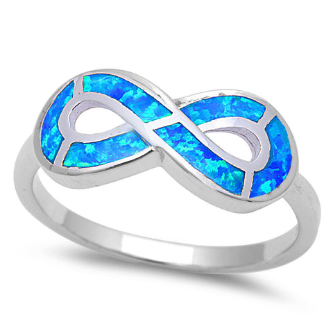 <span>CLOSEOUT!</span> Blue Opal Infinity Symbol .925 Sterling Silver Ring Sizes 4-12