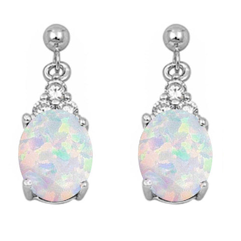 White Opal & Cz Dangle .925 Sterling Silver Earrings