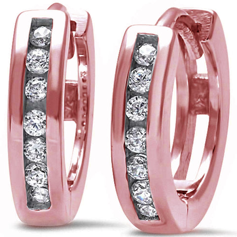 Rose Gold Plated Round Cz Hoop .925 Sterling Silver Earrings