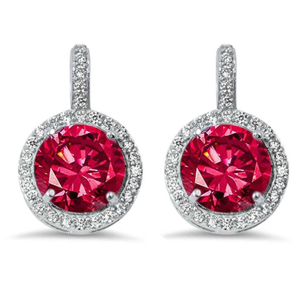 Halo Ruby & Cubic Zirconia .925 Sterling Silver Earring