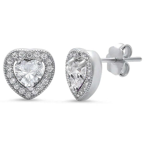 Cubic Zirconia Pave Heart .925 Sterling Silver Earrings