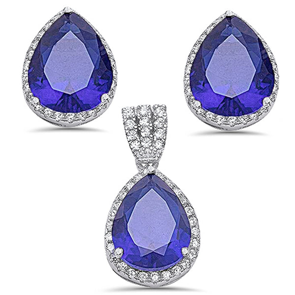 7.75ct Pear Cut Tanzanite & Cz .925 Sterling Silver & Pendant Jewelry set