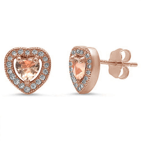 Rose Gold Plated Morganite & Pave Cubic Zirconia .925 Sterling Silver Earrings
