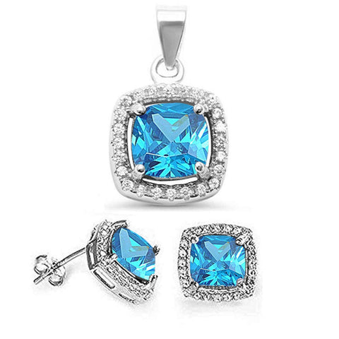 Cushion Cut Blue Topaz & Cz Earring & Pendant .925 Sterling Silver Set