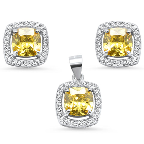 Cushion Cut Yellow Cubic Zirconia .925 Sterling Silver Pendant & Earring Set