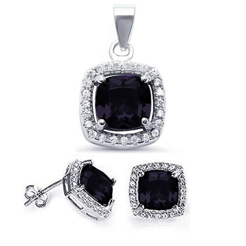 Cushion Black Onyx & CZ Halo .925 Sterling Silver Earring & Pendant Set
