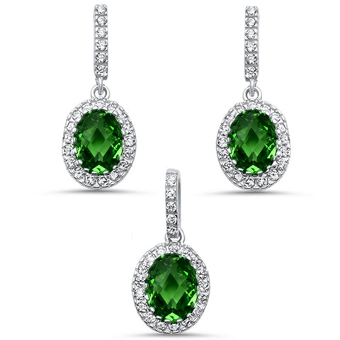 Oval Emerald & Cz .925 Sterling Silver Earring & Pendant Jewelry set