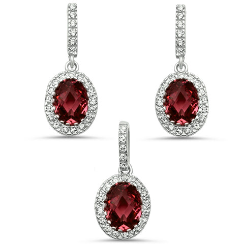 Oval Ruby & Cz .925 Sterling Silver Earring & Pendant Jewelry set