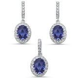 Oval Tanzanite & Cz .925 Sterling Silver Earring & Pendant Jewelry set