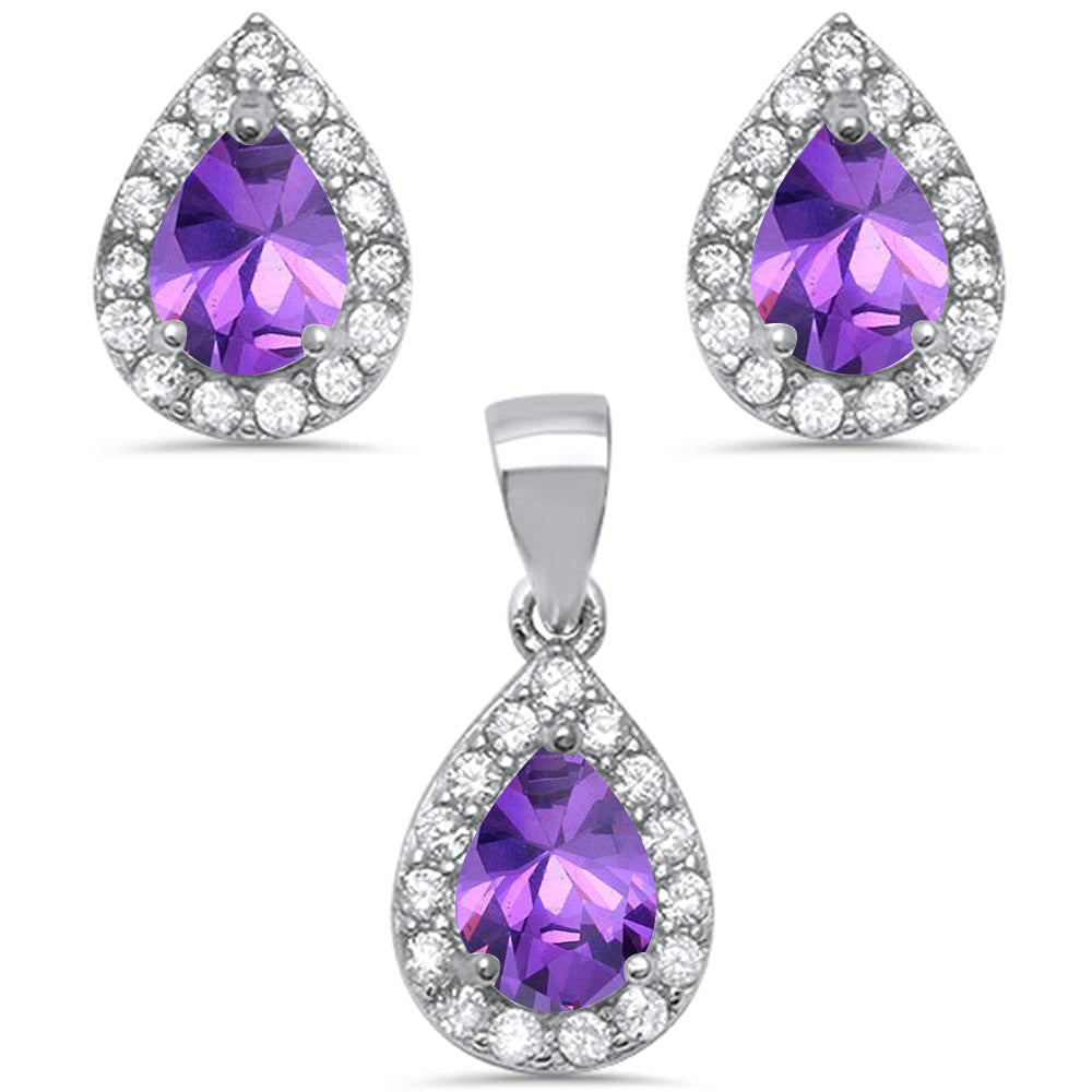 Pear Shape Amethyst & Cz .925 Sterling Silver Earring & Pendant Jewelry set
