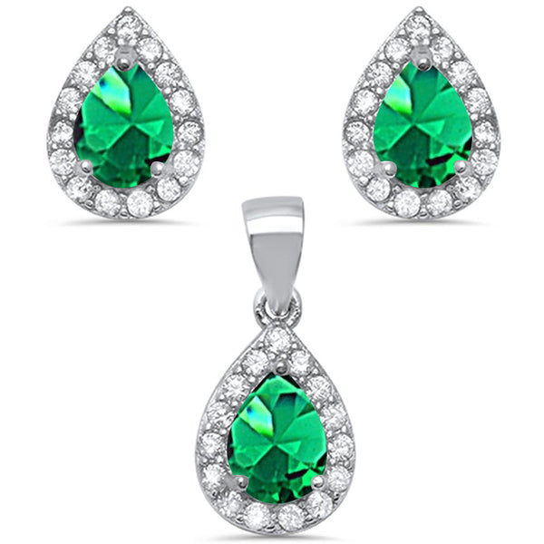 Pear Shape Emerald & Cz .925 Sterling Silver Earring & Pendant Jewelry set